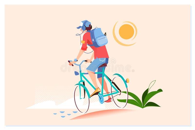 Den lyckliga unga mannen rider cykeln utanf?r Sund livsstil Vtctor illustration royaltyfri illustrationer