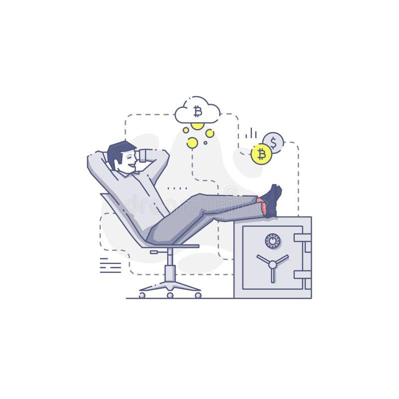 Den lyckliga unga mannen sitter med fot upp på ett kassaskåp med bitcoins royaltyfri illustrationer