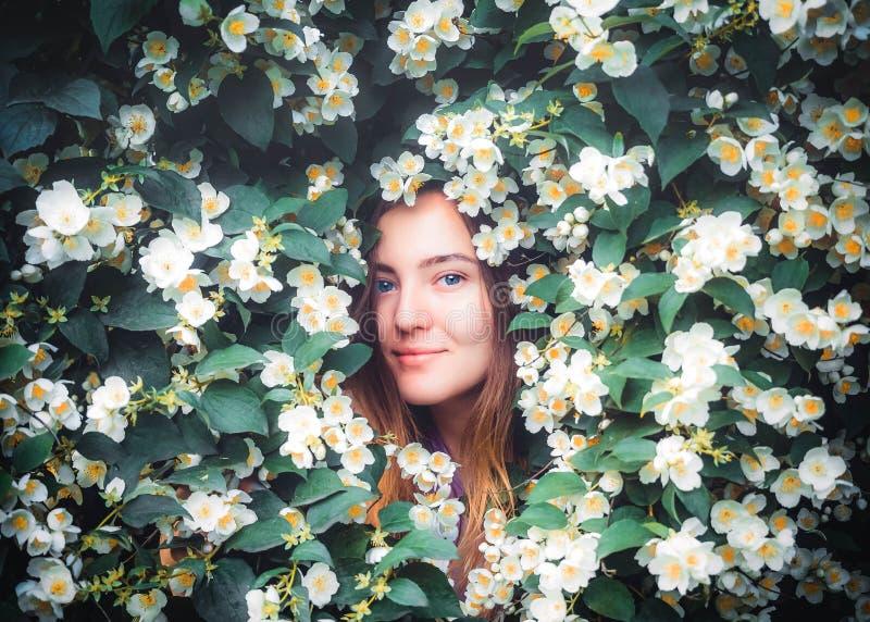 Den lyckliga unga smilling flickan som har gyckel, fångar kronblad med hans händer på bakgrund av den blommande busken med vita b arkivbild