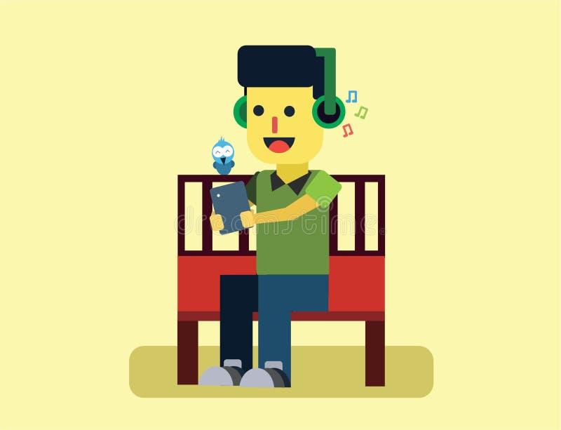 Den lyckliga ungen är sitta och höra musik med hans minnestavla och hans headphone stock illustrationer