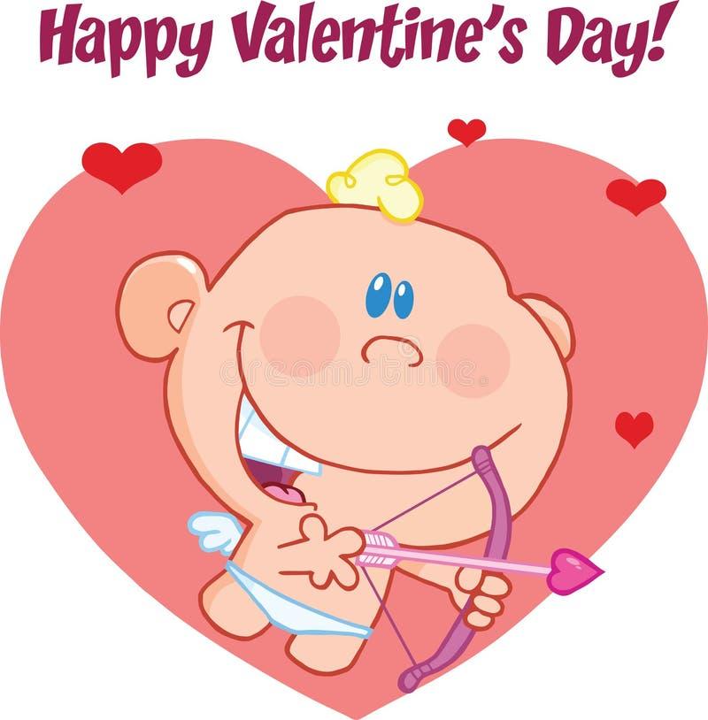 Den lyckliga valentins daghälsningen med gulligt behandla som ett barn kupidonflyg med pilbågen och pilen vektor illustrationer