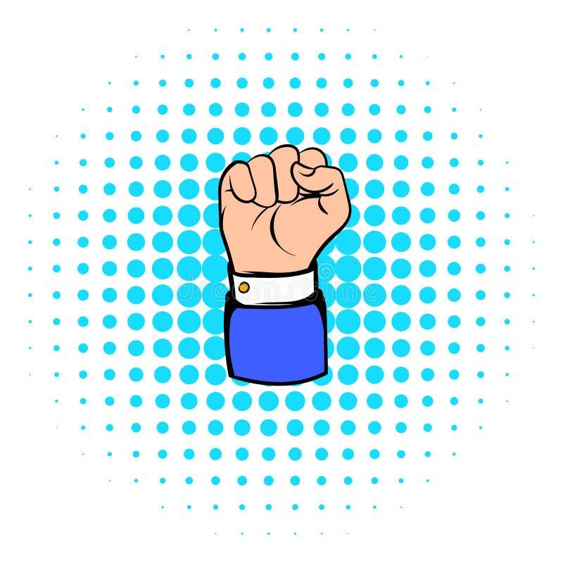 Den lyftta näven, symbolen för handgesten, komiker utformar stock illustrationer