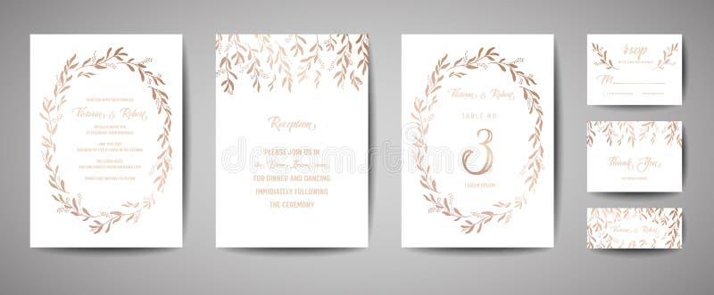 Den lyxiga bröllopräddningen datumet, inbjudan Cards samlingen med den eukalyptussidor och kransen för guld- folie Moderiktig räk royaltyfri illustrationer