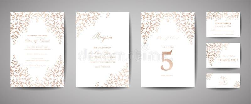 Den lyxiga bröllopräddningen datumet, inbjudan Cards samlingen med sidor och kransen för guld- folie Moderiktig räkning stock illustrationer