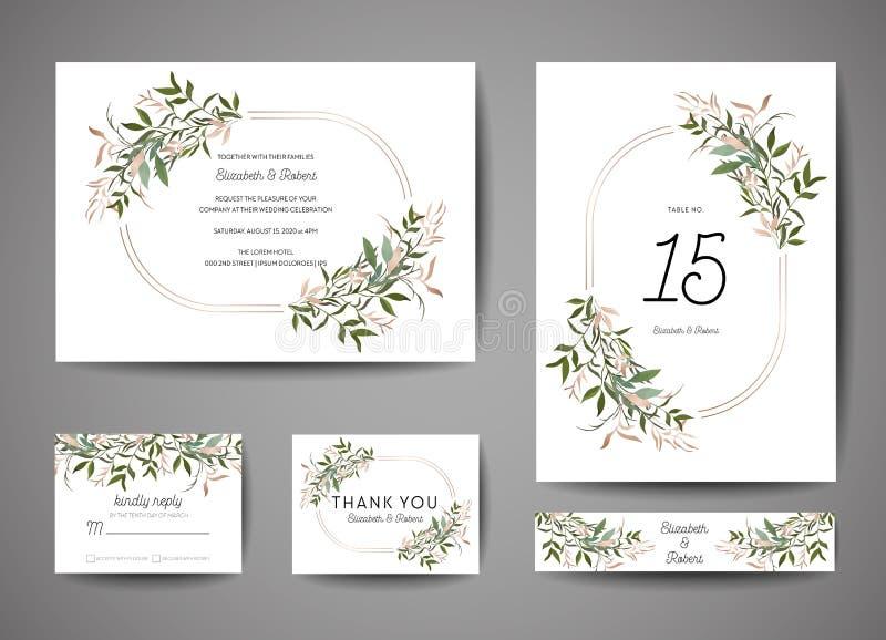Den lyxiga bröllopräddningen datumet, inbjudan Cards samlingen med sidor och kransen för guld- folie moderiktig räkning, grafisk  vektor illustrationer