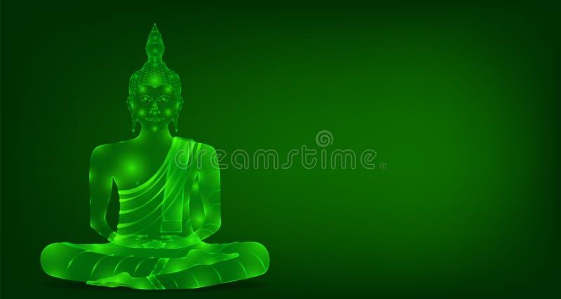 Den lyxiga gröna phraen buddha som för smaragdkristallmunken sitter för, ber den samlade frigöraren för koncentration f?rgrik bak stock illustrationer