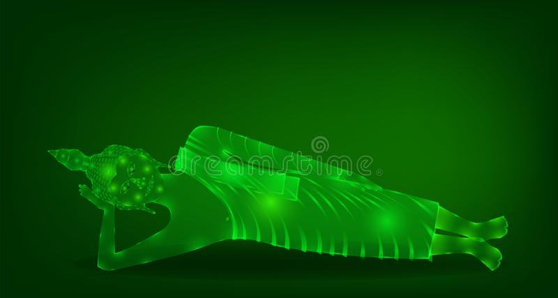 Den lyxiga gröna phraen buddha som för smaragdkristallmunken sover meditationen för, ber den koncentration komponerade frigöraren vektor illustrationer