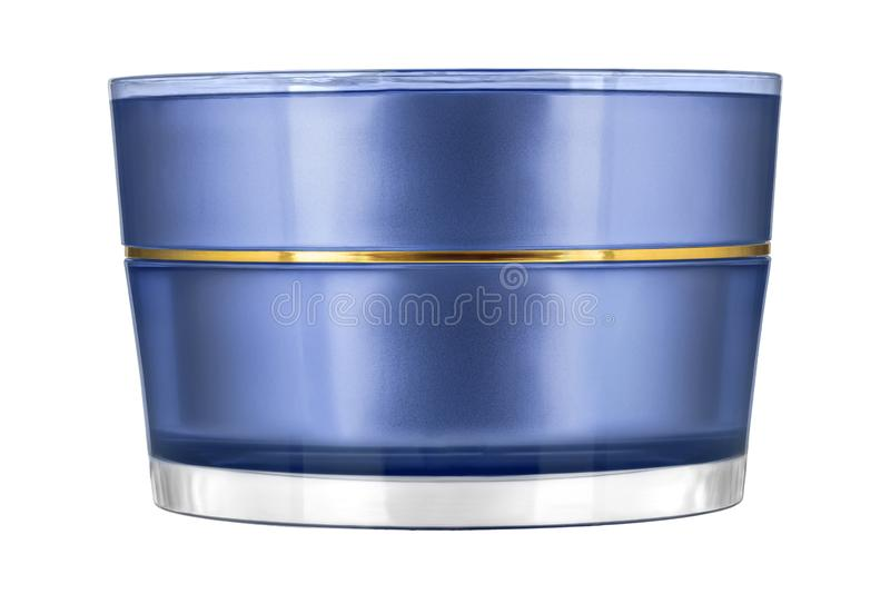 Den lyxiga kosmetiska framsidan som fuktar kräm för åldrig hud i stängt glansigt blått kan, isolerat på vit bakgrund, urklippbana royaltyfria bilder