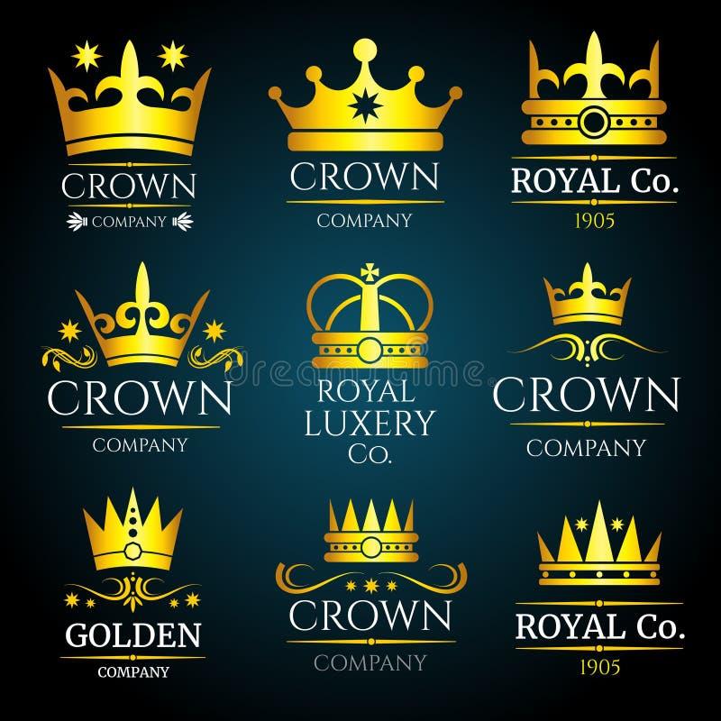 Den lyxiga monogrammet för kronavektortappning, logoer ställde in för boutique och smycken vektor illustrationer