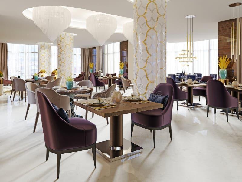 Den lyxiga restaurangen i hotellet har en modern inredesign, mjuka fåtöljer och tjänade som tabeller vektor illustrationer