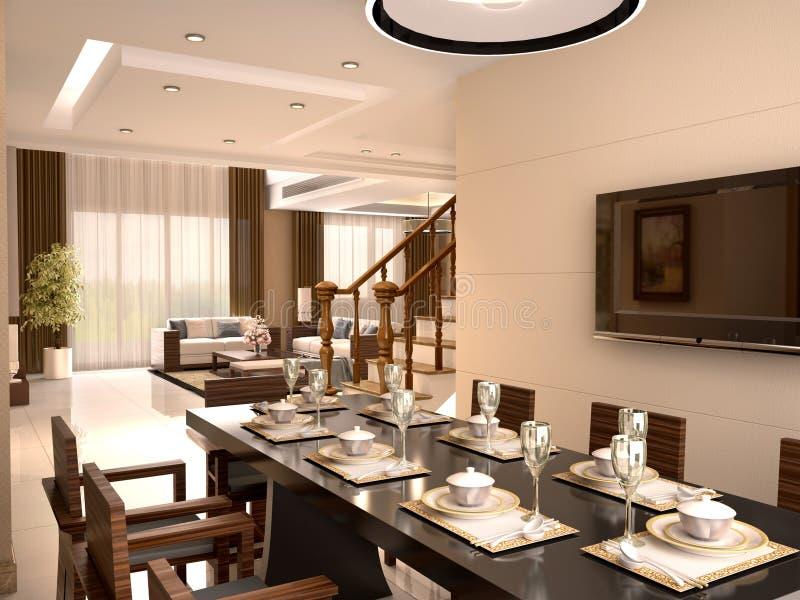 Den lyxiga studion med att äta middag tabellen och stolar ställde in för ett mål royaltyfri bild