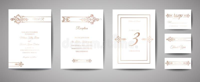 Den lyxiga tappningbröllopräddningen datumet, inbjudan Cards samlingen med ramen och kransen för guld- folie moderiktig räkning,  stock illustrationer