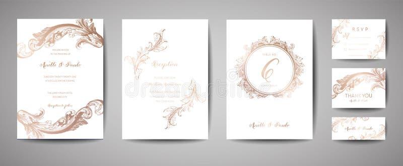 Den lyxiga tappningbröllopräddningen datumet, inbjudan Cards samlingen med ramen och kransen för guld- folie moderiktig räkning,  vektor illustrationer