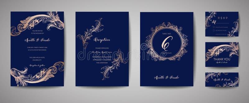 Den lyxiga tappningbröllopräddningen datumet, inbjudanmarin Cards samlingen med ramen och kransen för guld- folie Moderiktig räkn vektor illustrationer