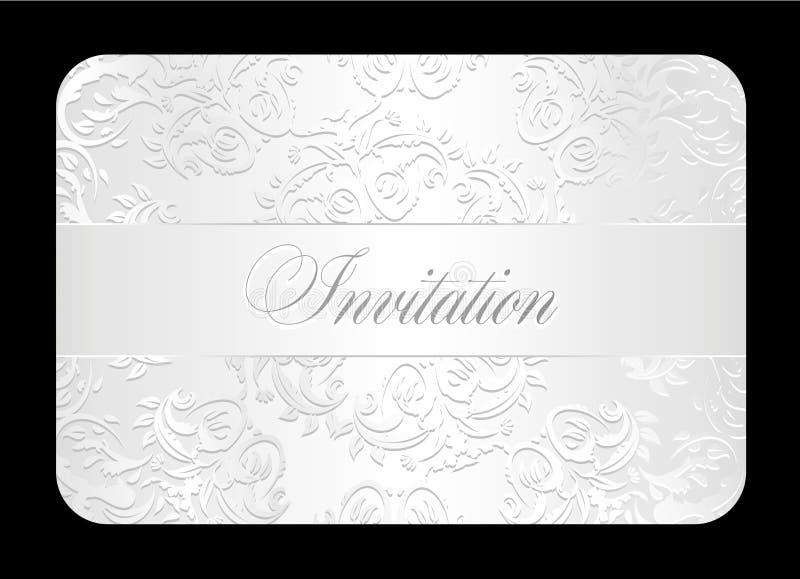 Den lyxiga vita bröllopinbjudan med rundat snör åt stock illustrationer