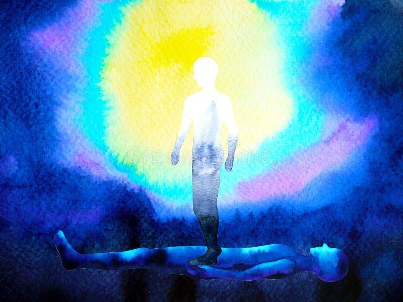 Den mänskliga andaanden och kroppen förbinder till meningsanslutning inom stock illustrationer