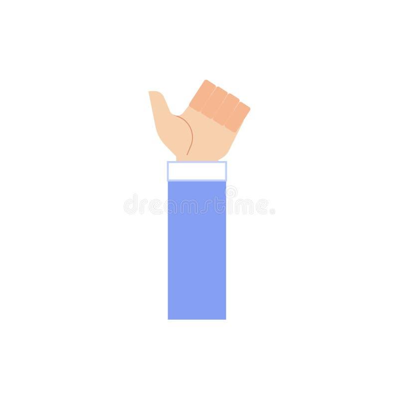 Den mänskliga handen i tummar för visning för affärsdräkt gör en gest upp isolerat på vit bakgrund royaltyfri illustrationer