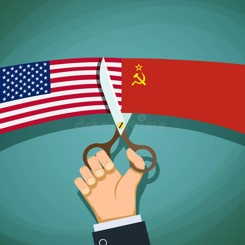 Den mänskliga handen med sax klipper USA flaggan och USSR Kalla Wa vektor illustrationer