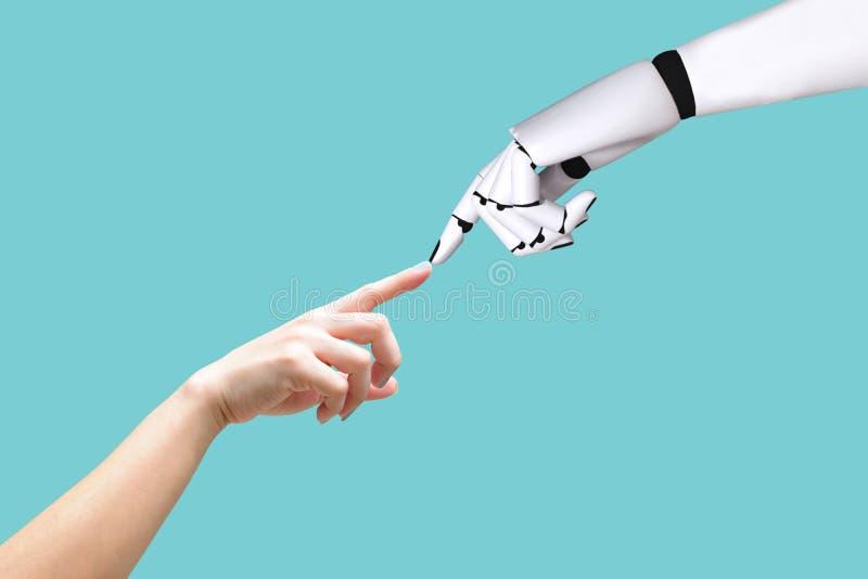 Den mänskliga handen och roboten räcker integration för systembegrepp och koordination av intellektuell teknologi arkivbild
