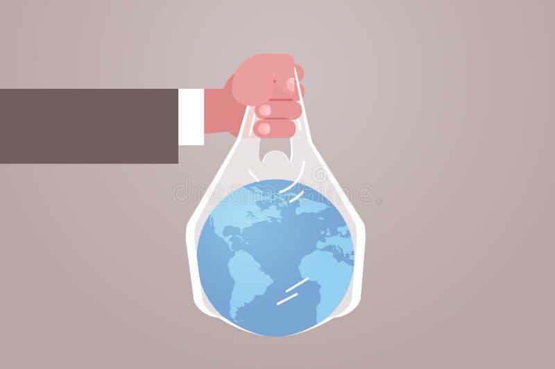 Den mänskliga handinnehavplaneten i påse säger att ingen plast- förorening som återanvänder ekologiproblem spara jordbegreppet fr stock illustrationer