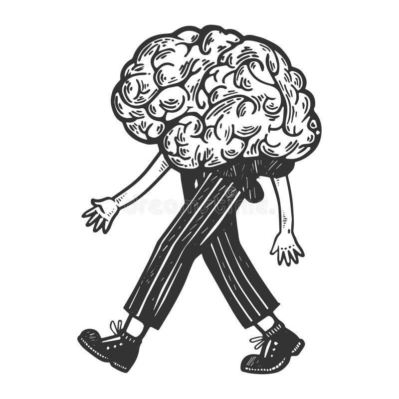 Den mänskliga hjärnan går på dess fot som inristar vektorn stock illustrationer