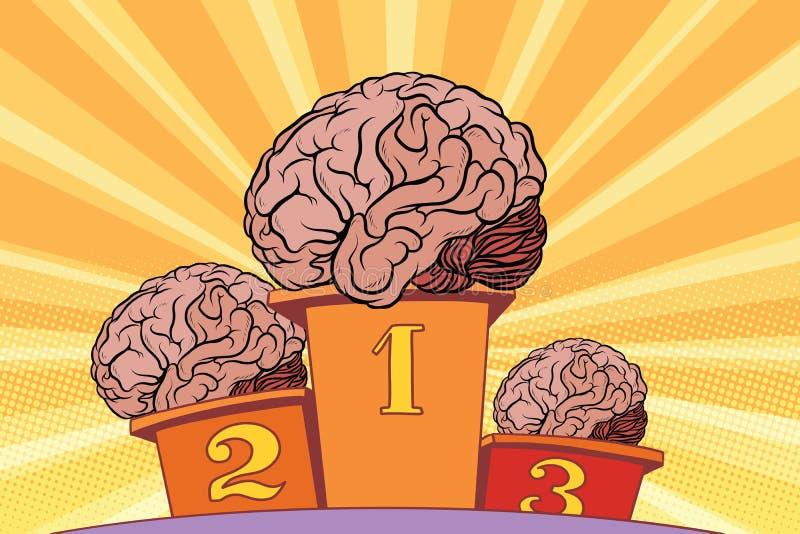 Den mänskliga hjärnan på sportpodiet stock illustrationer