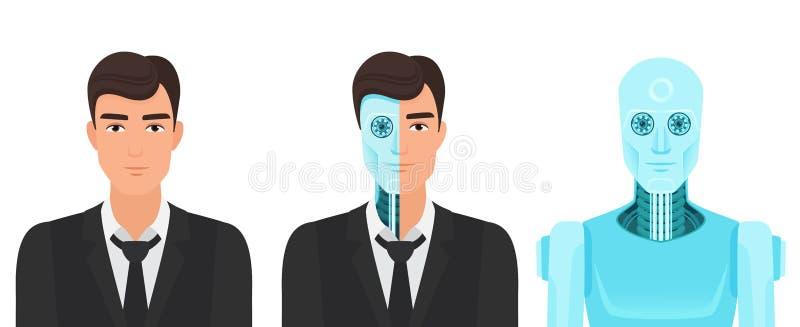 Den mänskliga mannen vänder in i en robot Framtida verklighet för för evigtliv av illustrationen för medicinomformningsvektor royaltyfri illustrationer