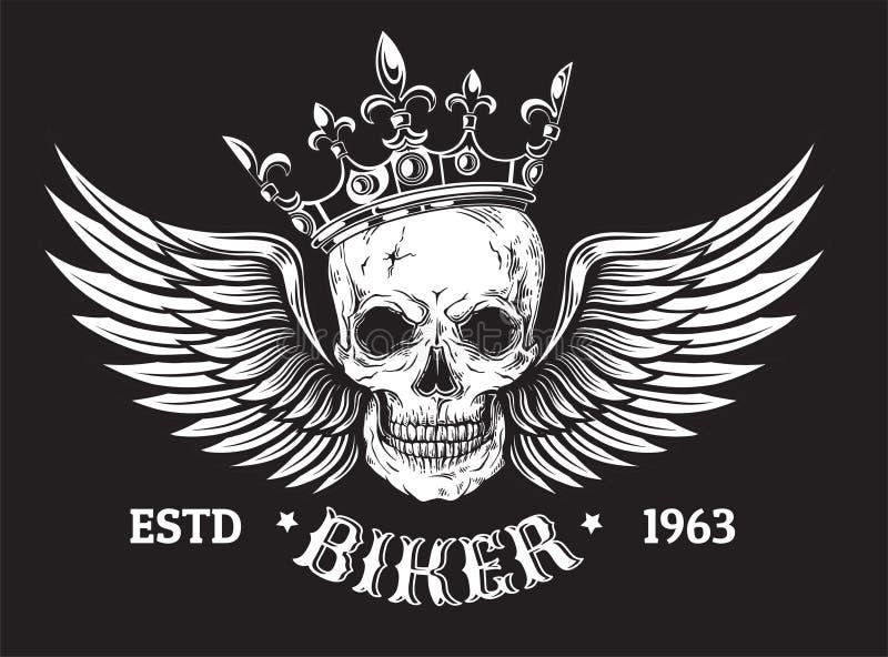 Den mänskliga skallen med vingar och kronan för tatuering planlägger stock illustrationer