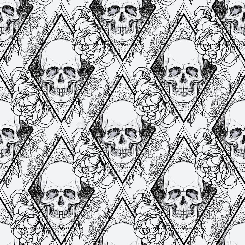Den mänskligt skallen med pionen, rosa och vallmo blommar över sakral geome stock illustrationer