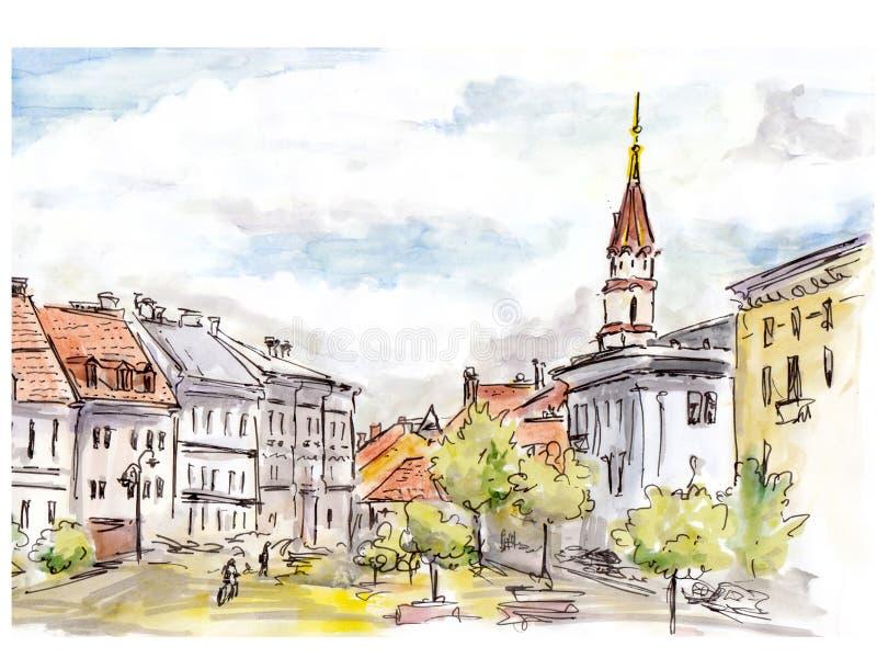 Den målade handen skissar av den Vilnius stadsgatan Vattenfärg och eyeliner royaltyfri foto