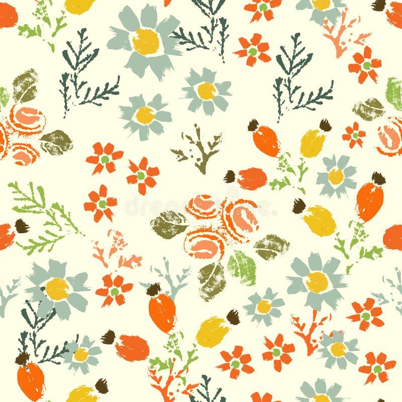 Den målade handen texturerade sömlös patt för för skogblommor och bär royaltyfri illustrationer