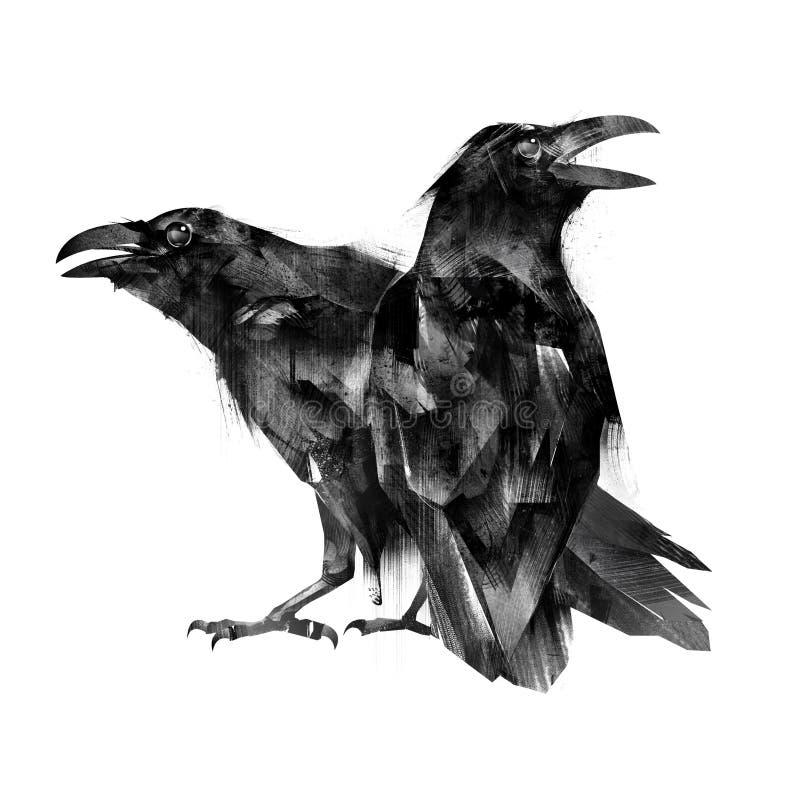 Den målade sittande fågeln gal på en vit bakgrund vektor illustrationer