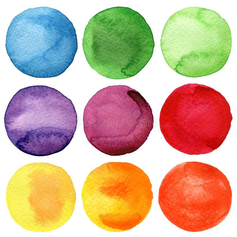 Den målade vattenfärgen cirklar samlingen royaltyfri illustrationer