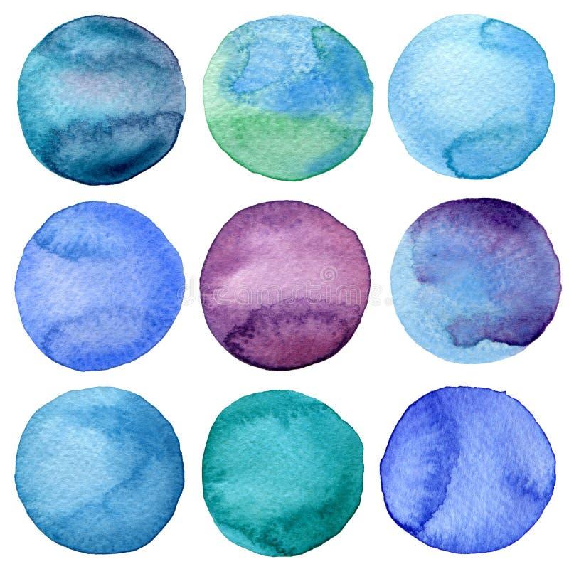 Den målade vattenfärghanden cirklar samlingen royaltyfri illustrationer