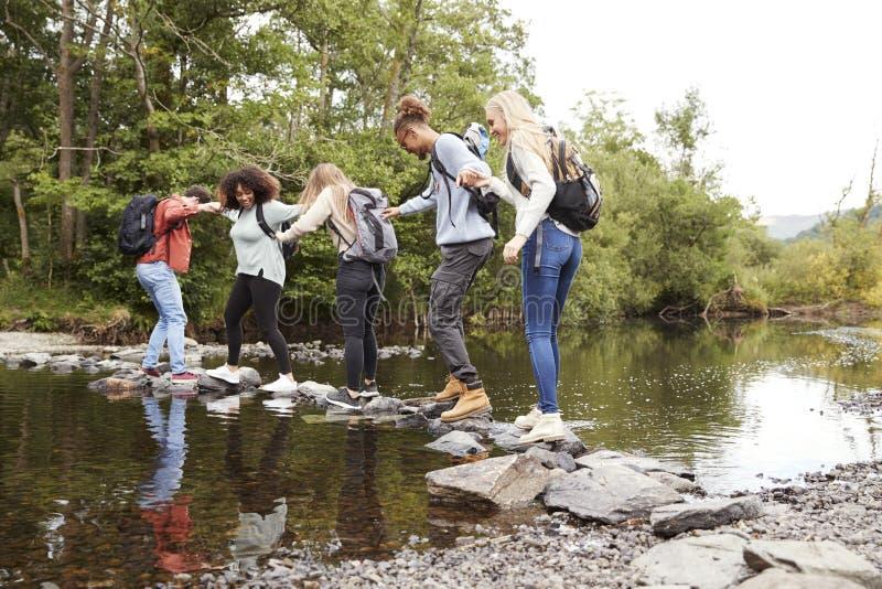 Den mång- folkgruppen av fem unga vuxna vänner rymmer händer som balanserar på, vaggar för att korsa en ström under en vandring arkivfoto