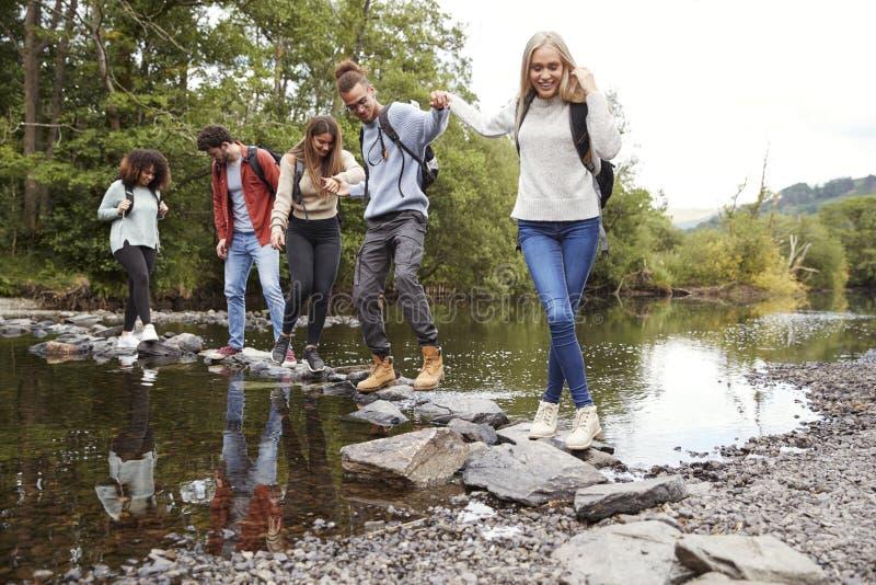Den mång- folkgruppen av fem unga vuxna vänner rymmer händer som går på, vaggar för att korsa en ström under en vandring royaltyfri foto