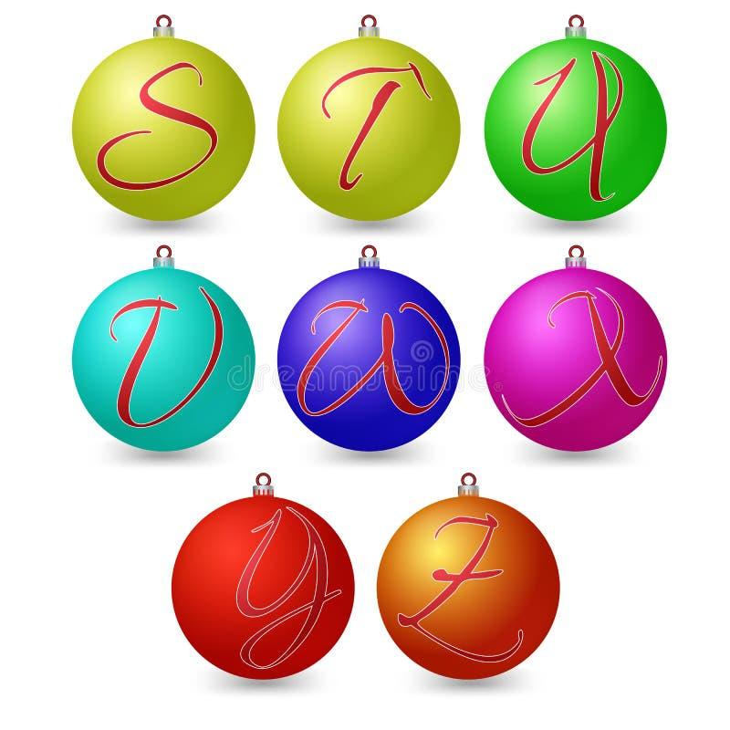 Den mångsidiga uppsättningen av alfabetsymboler på jul klumpa ihop sig royaltyfri illustrationer