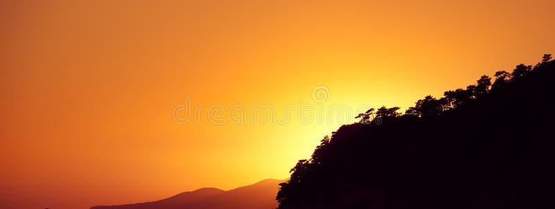 Den mörka konturn av ett berg som är bevuxet med träd mot den orange aftonhimlen Orange solnedg?ngbakgrund royaltyfri foto