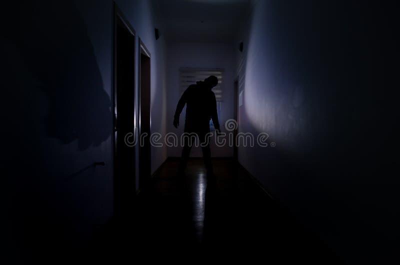 Den mörka korridoren med kabineda dörrar och ljus med konturn av den spöklika fasan man anseende med olikt poserar royaltyfria bilder