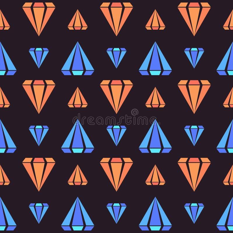 Den mörka retro sömlösa modellen med apelsin- och blåttdiamanten formar vektor illustrationer