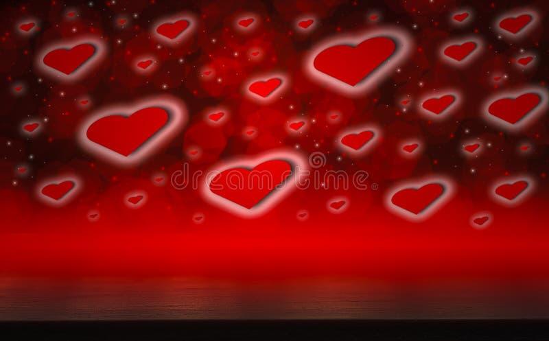 Den mörka trätabellen, valentindagbegreppet och att älska röd formhjärta med bokehbakgrund, tömmer för text och förläggaprodukter fotografering för bildbyråer