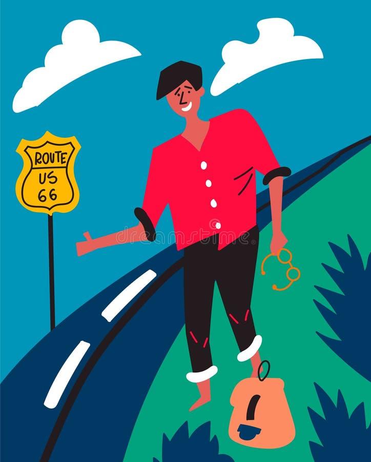 Den mörkhyade grabben röstar på huvudväg 66 i USA Hake-fotvandra Resa till och med Amerika stock illustrationer