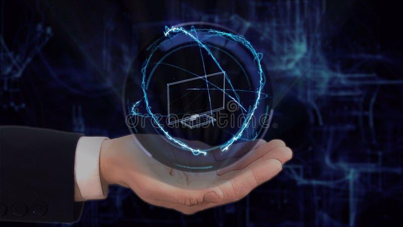 Den m?lade handen visar TV f?r begreppshologrammet 3d p? hans hand royaltyfri fotografi