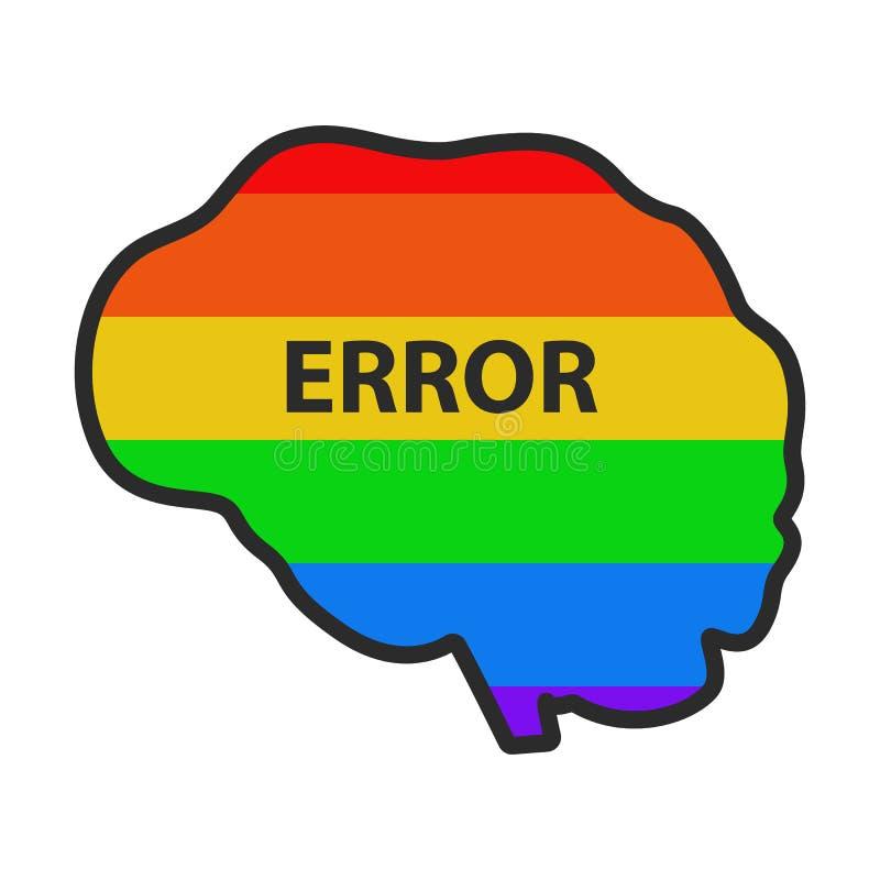 Den m?nskliga hj?rnan som m?lades med LGBT-flaggan, m?rkte fel illustration royaltyfri illustrationer
