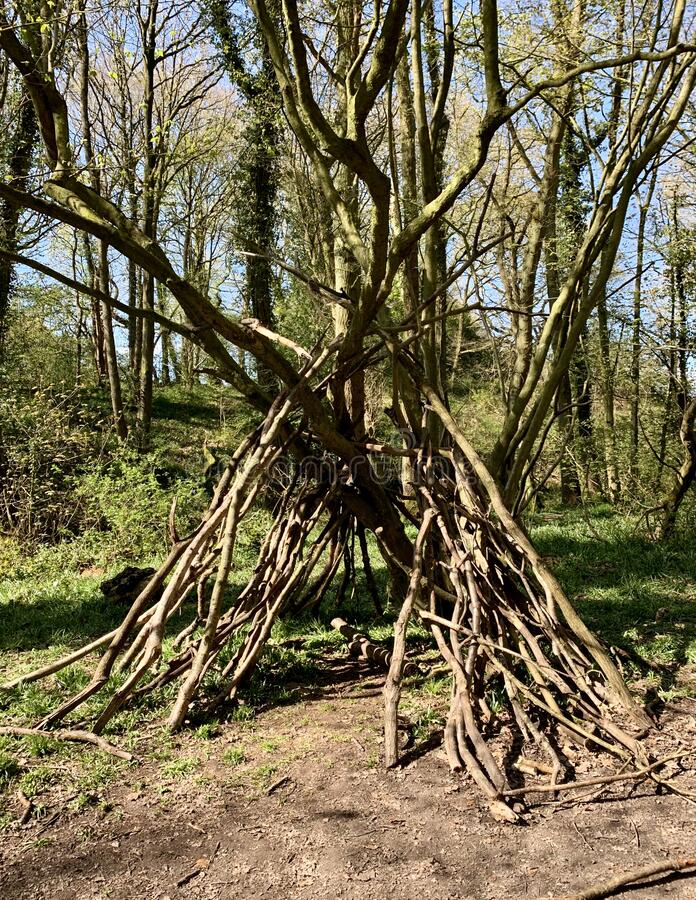 Den. A den made from old sticks and branches royalty free stock images