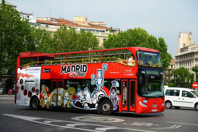 Den Madrid staden turnerar bussen, Madrid, Spanien arkivbild
