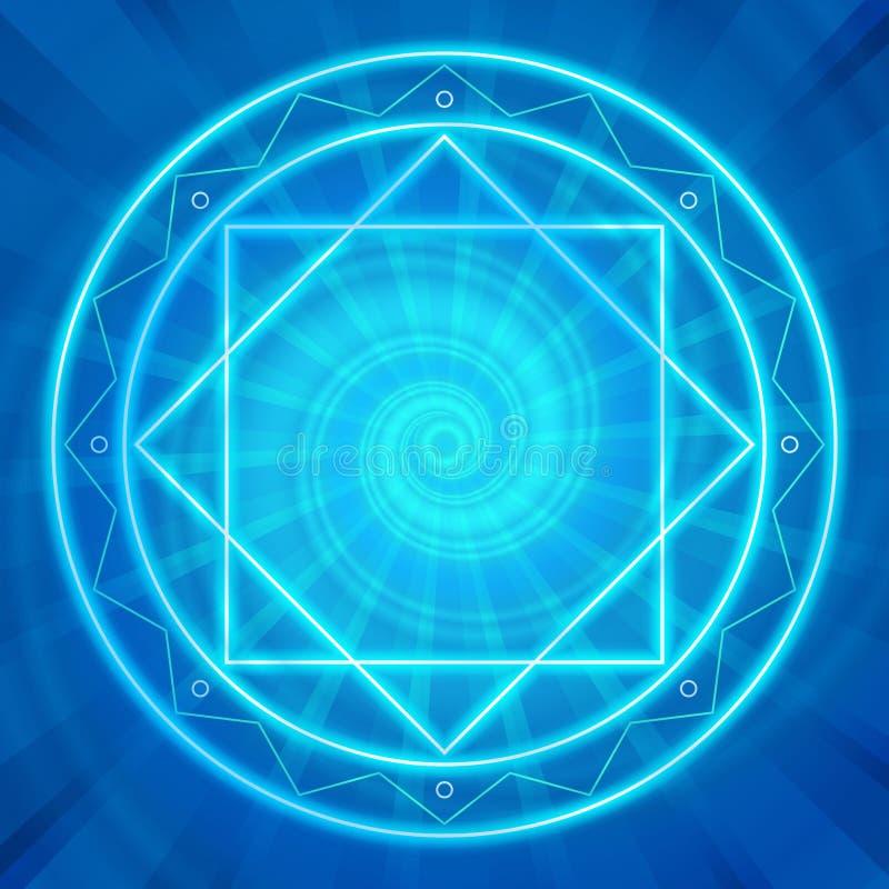 Den magiska cirkeln, sakral geometri, glödande neon fodrar stock illustrationer