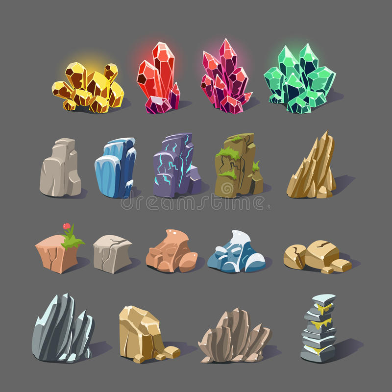 Den magiska kristallen och vaggar texturer vektor illustrationer