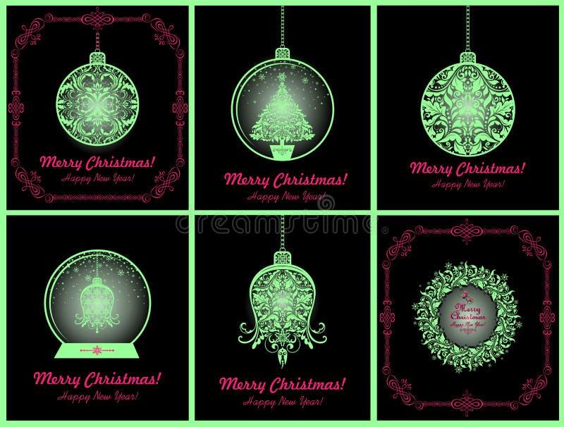 Den magiska samlingen för jultappningkort med att hänga blom- neon klippte ut bollen, klockan, xmas-trädet, det glödande jordklot vektor illustrationer