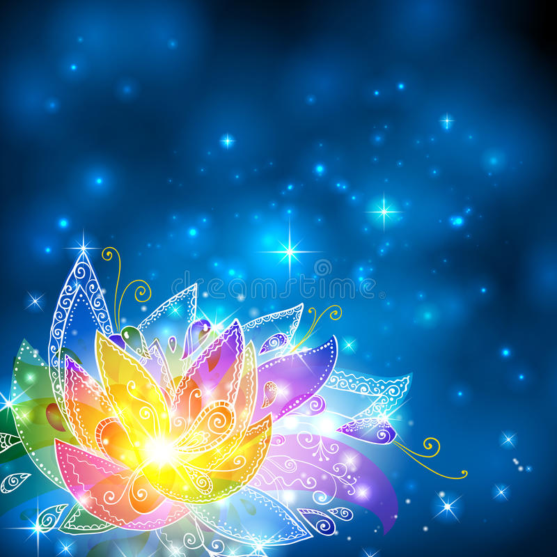 Den magiska skinande regnbågen colors den esoteriska blomman stock illustrationer